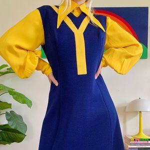 Mod 50s 60s space age color block wool dress M